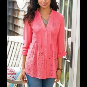 Soft Surroundings Glam Gauze Embroidered Tunic Top